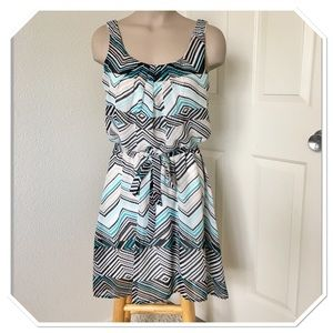 AUW Sheer Chevron Striped high low dress S